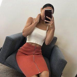 Zipper midi skirt